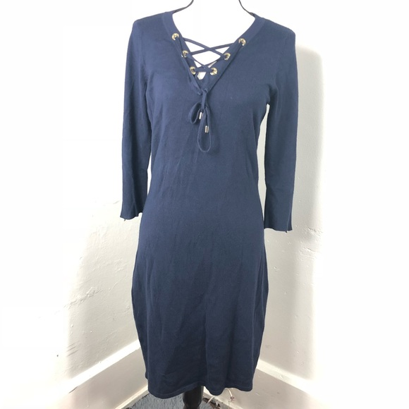 Calvin Klein Navy Lace Up Sweater Dress M
